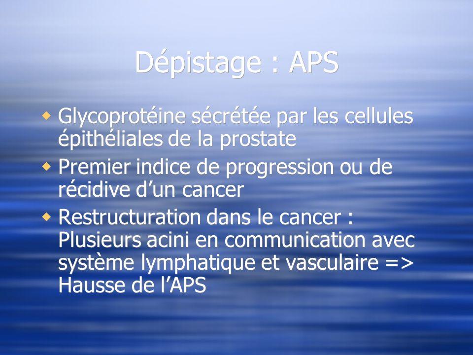 Dépistage : APS Glycoprotéine sécrétée par les cellules épithéliales de la prostate Premier indice de progression ou de récidive dun cancer Restructur