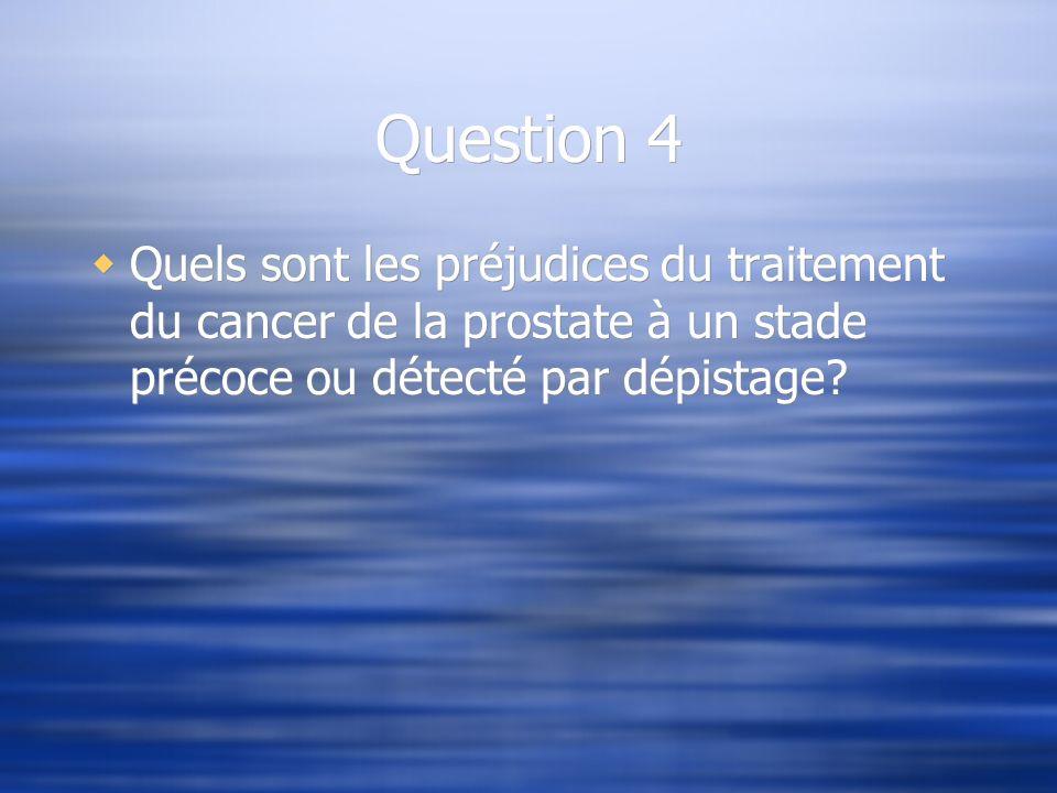 Question 4 Quels sont les préjudices du traitement du cancer de la prostate à un stade précoce ou détecté par dépistage?