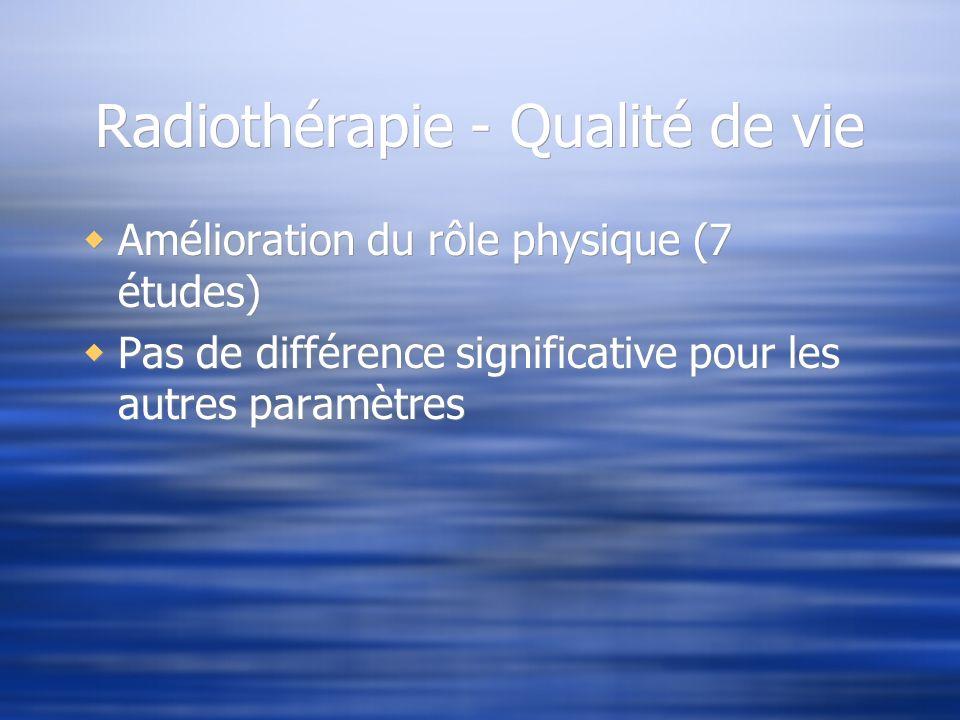 Radiothérapie - Qualité de vie Amélioration du rôle physique (7 études) Pas de différence significative pour les autres paramètres Amélioration du rôl