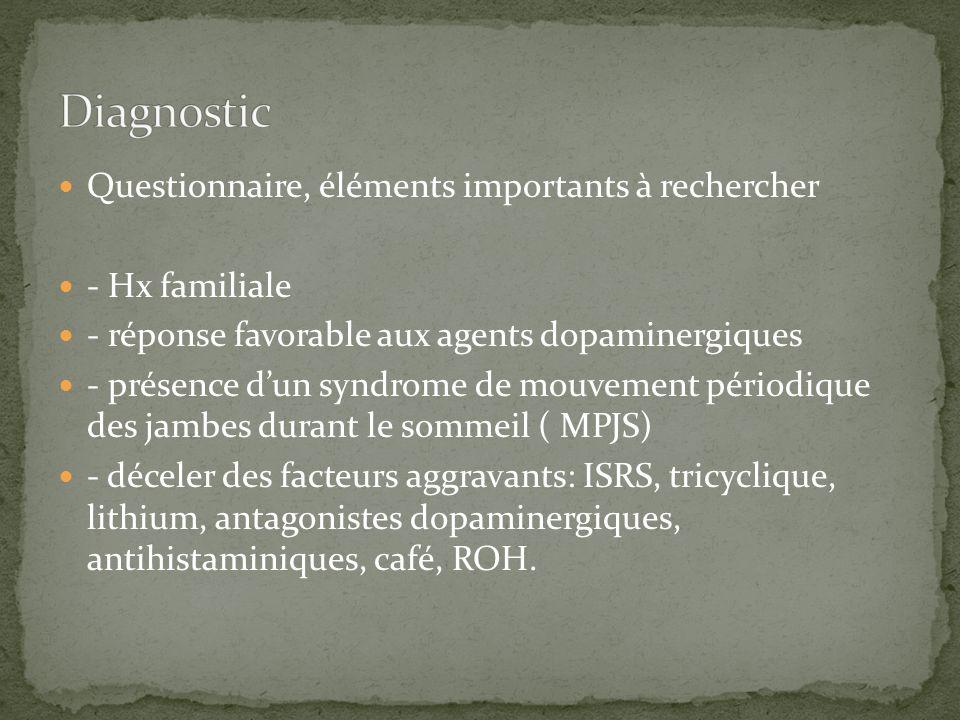 Questionnaire, éléments importants à rechercher - Hx familiale - réponse favorable aux agents dopaminergiques - présence dun syndrome de mouvement pér