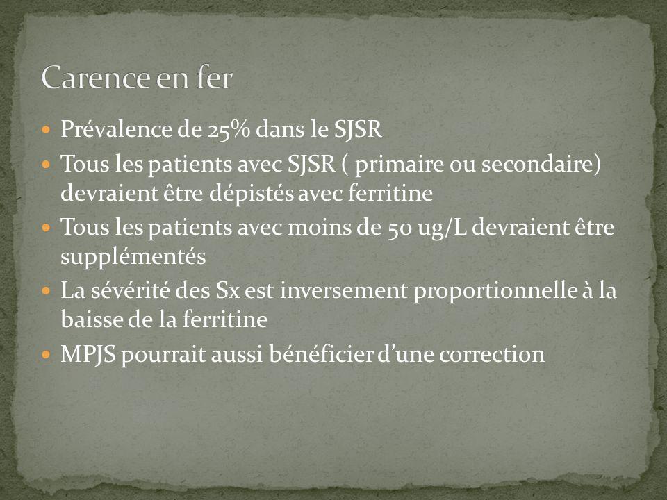 SJSRMPJS physiopathologie - Anomalie dopamine et métabolisme du fer Inhibition motrice inefficace durant le sommeil non-REM occurrence80% avant le MPJSFréquent, la plupart nayant pas de SJSR mvtBesoin irrépressible de bouger les jambes MVT involontaire et rythmique durant le sommeil(toutes les 5 à 90 sec) SxSx désagréables - État de csRéveilléEndormi Trouble du sommeilDélai di endormissementSommeil fractionné DxCliniquePolysomnographIe PrimaireGénétique idopathiqueAucune cause connue SecondaireMéd.