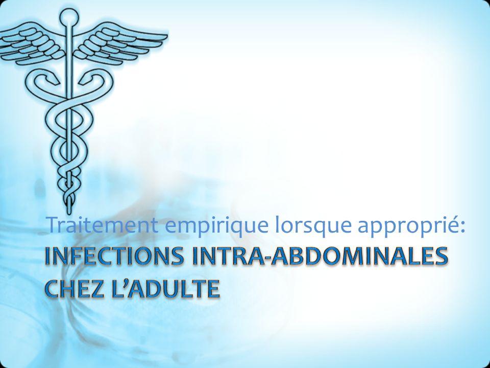 Classification: – Infections intra-abdominales: Non-compliquées Compliquées Conseil du médicament Québec, novembre 2005
