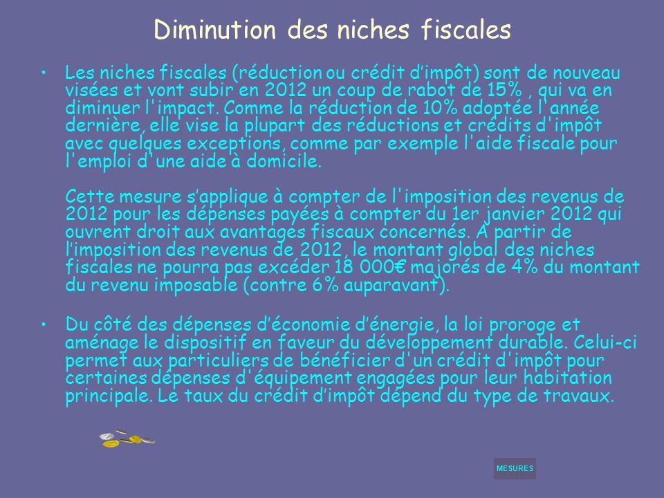 Diminution des niches fiscales Les niches fiscales (réduction ou crédit dimpôt) sont de nouveau visées et vont subir en 2012 un coup de rabot de 15%, qui va en diminuer l impact.