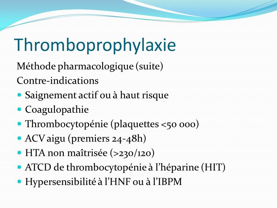 Thromboprophylaxie Méthode pharmacologique (suite) Contre-indications Saignement actif ou à haut risque Coagulopathie Thrombocytopénie (plaquettes <50