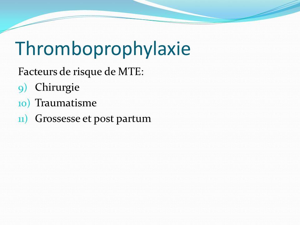 Thromboprophylaxie Facteurs de risque de MTE: 9) Chirurgie 10) Traumatisme 11) Grossesse et post partum