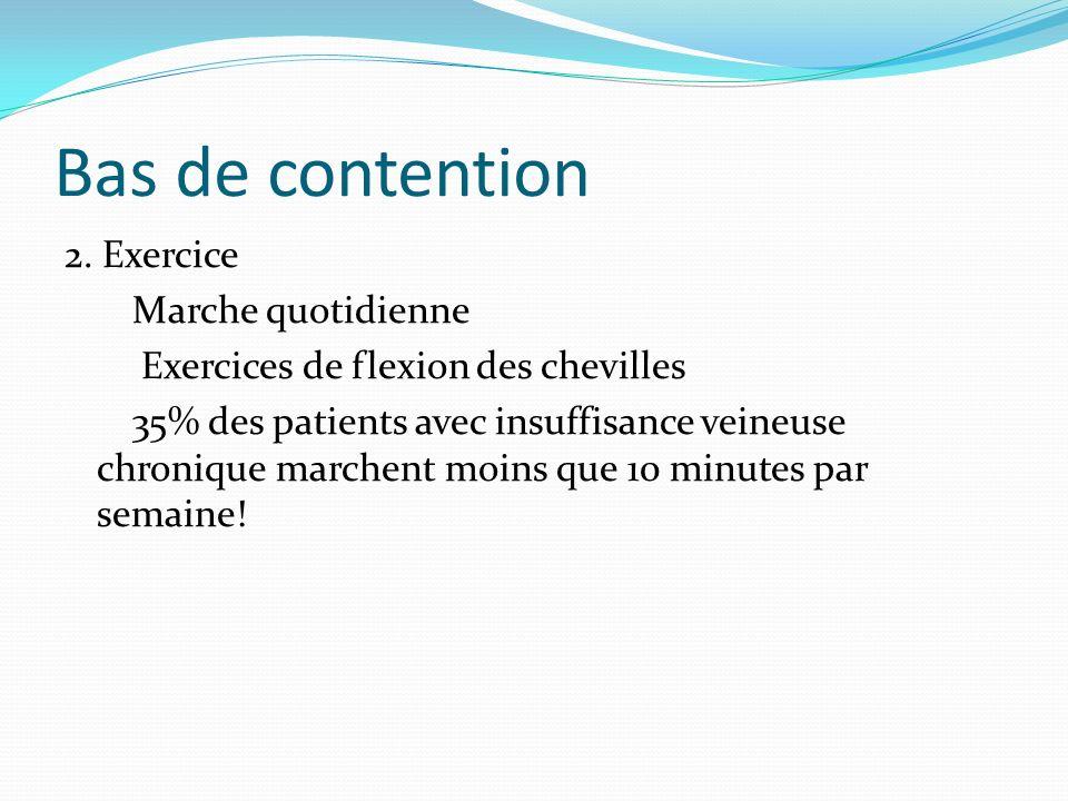 Bas de contention 2. Exercice Marche quotidienne Exercices de flexion des chevilles 35% des patients avec insuffisance veineuse chronique marchent moi