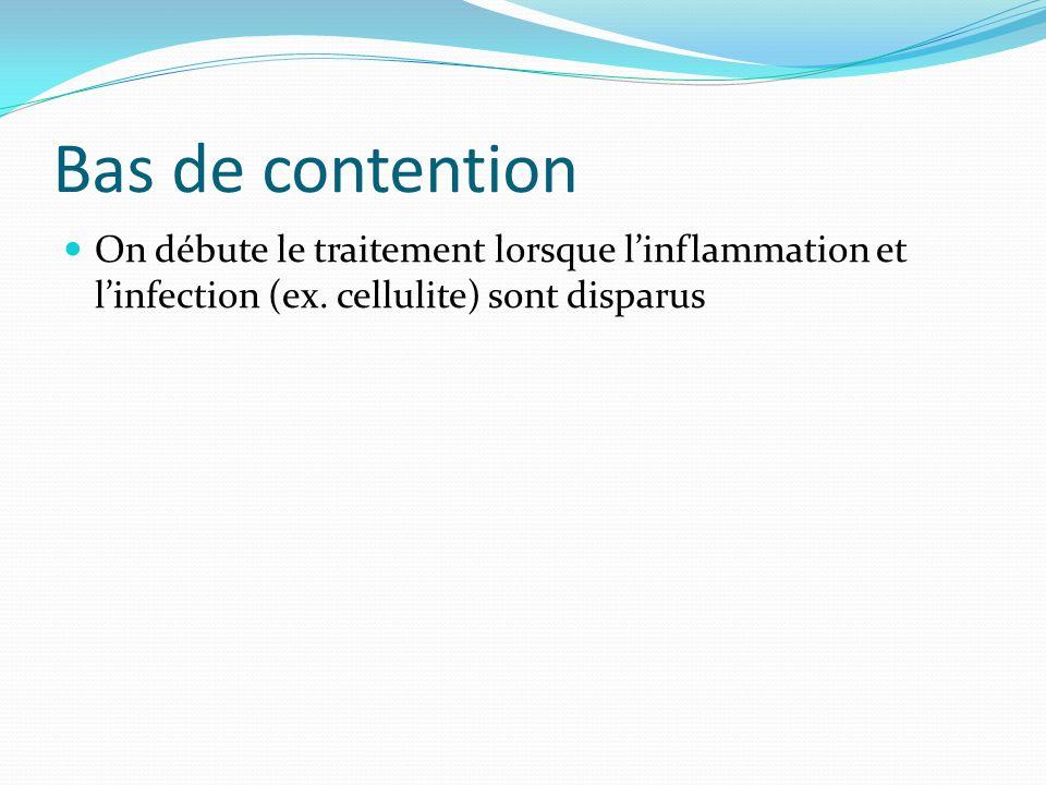 Bas de contention On débute le traitement lorsque linflammation et linfection (ex. cellulite) sont disparus