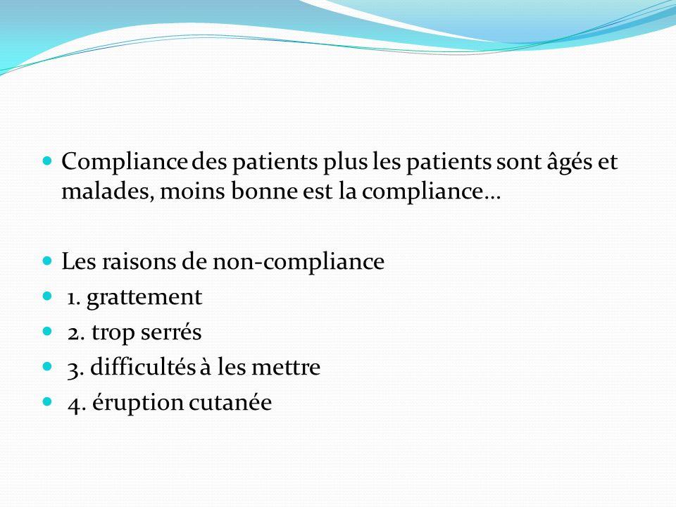 Compliance des patients plus les patients sont âgés et malades, moins bonne est la compliance… Les raisons de non-compliance 1. grattement 2. trop ser
