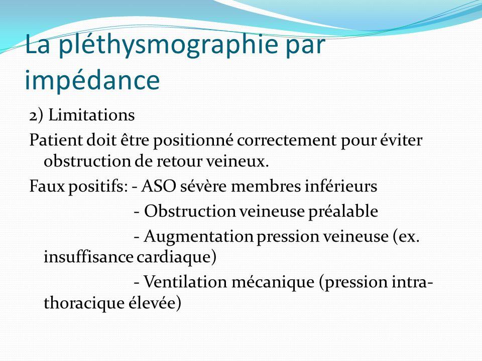 La pléthysmographie par impédance 2) Limitations Patient doit être positionné correctement pour éviter obstruction de retour veineux. Faux positifs: -