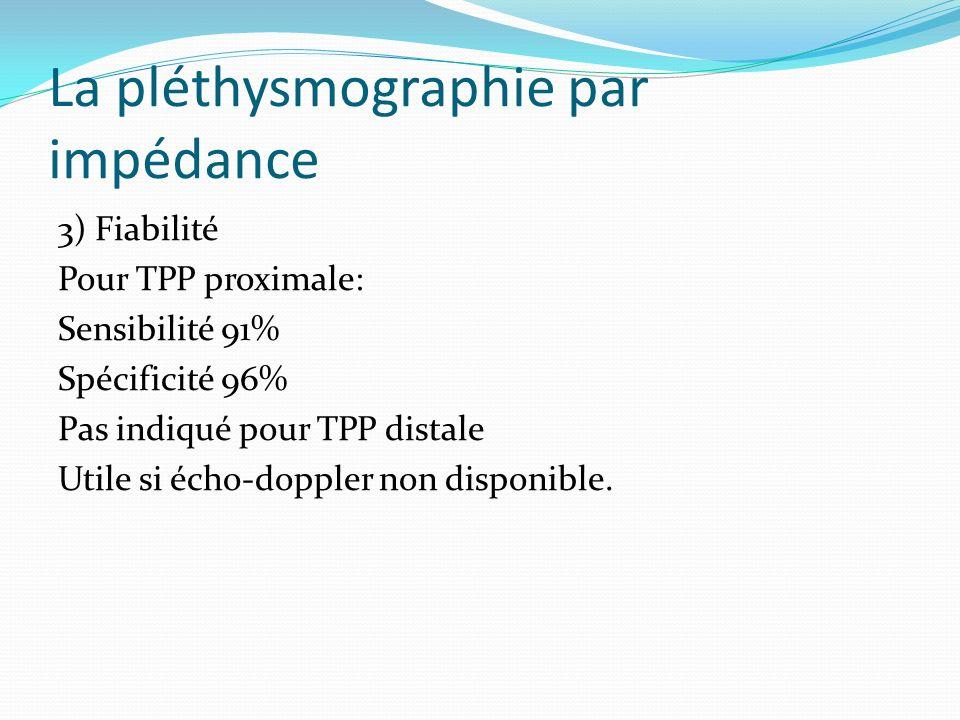 La pléthysmographie par impédance 3) Fiabilité Pour TPP proximale: Sensibilité 91% Spécificité 96% Pas indiqué pour TPP distale Utile si écho-doppler