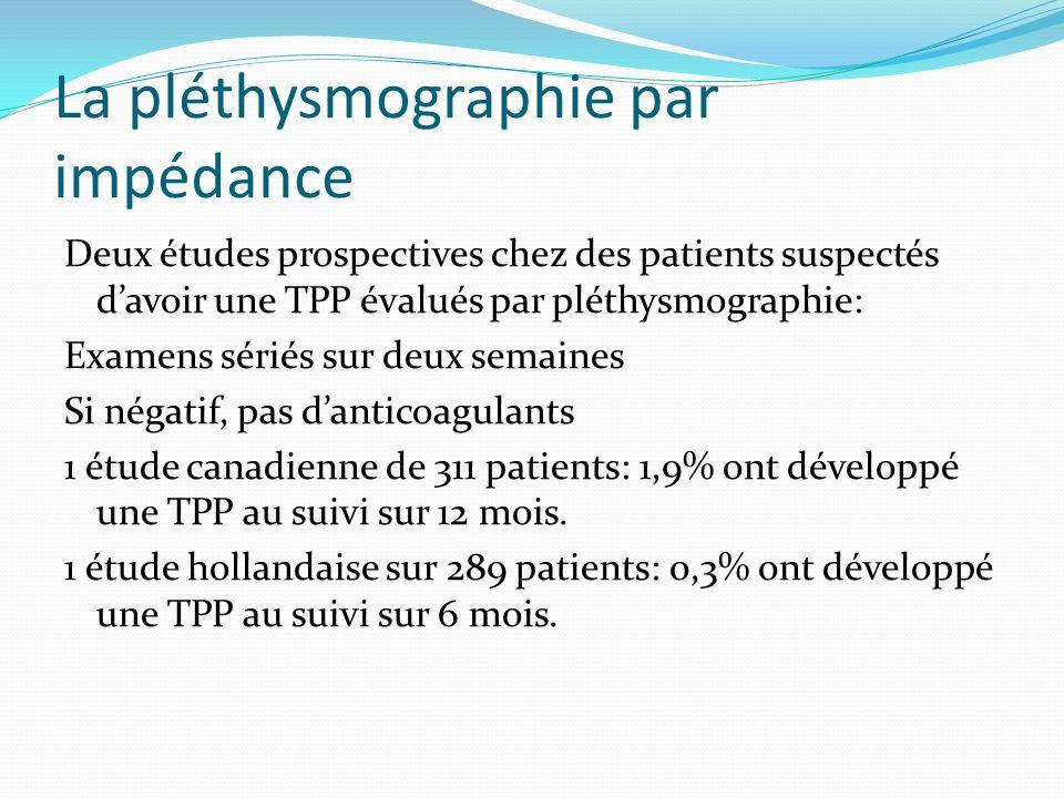 La pléthysmographie par impédance Deux études prospectives chez des patients suspectés davoir une TPP évalués par pléthysmographie: Examens sériés sur