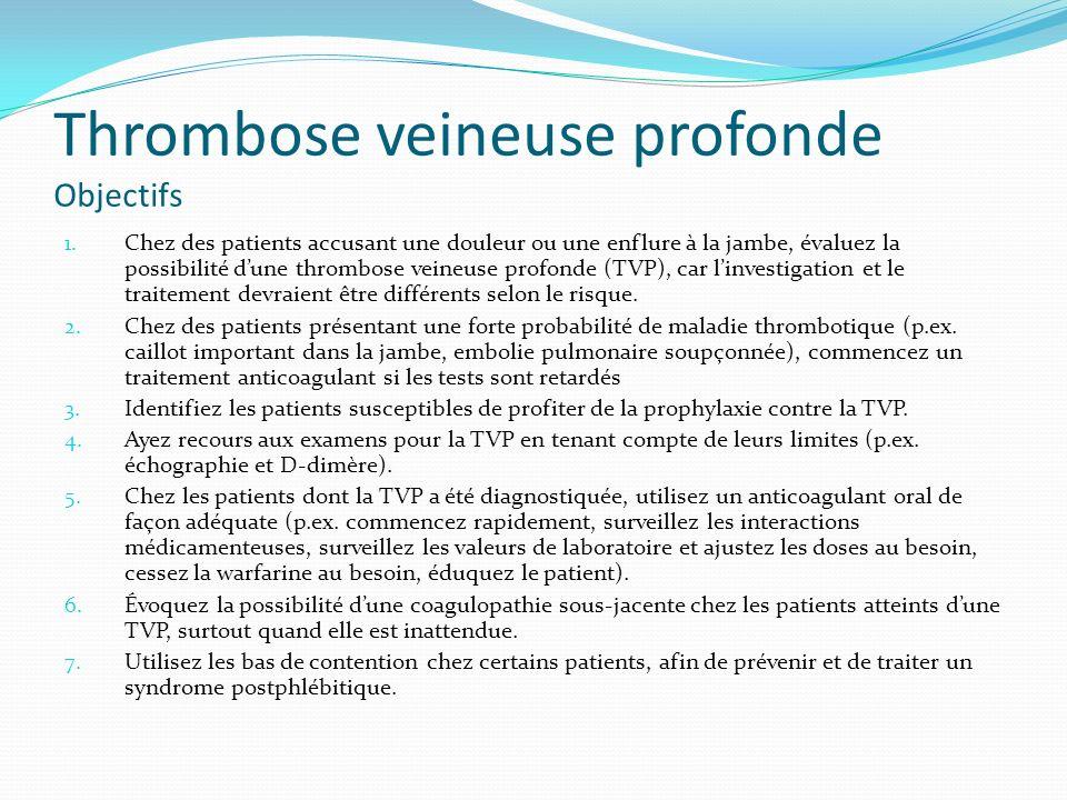Thrombose veineuse profonde Plan de cours 1.Investigation de la thrombose veineuse profonde 2.