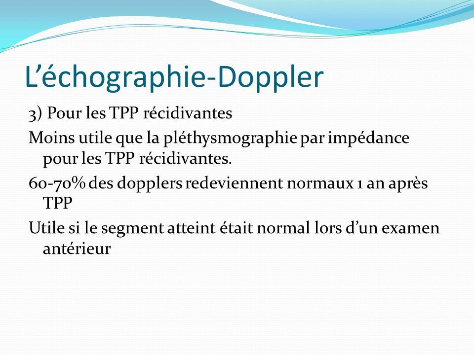 Léchographie-Doppler 3) Pour les TPP récidivantes Moins utile que la pléthysmographie par impédance pour les TPP récidivantes. 60-70% des dopplers red