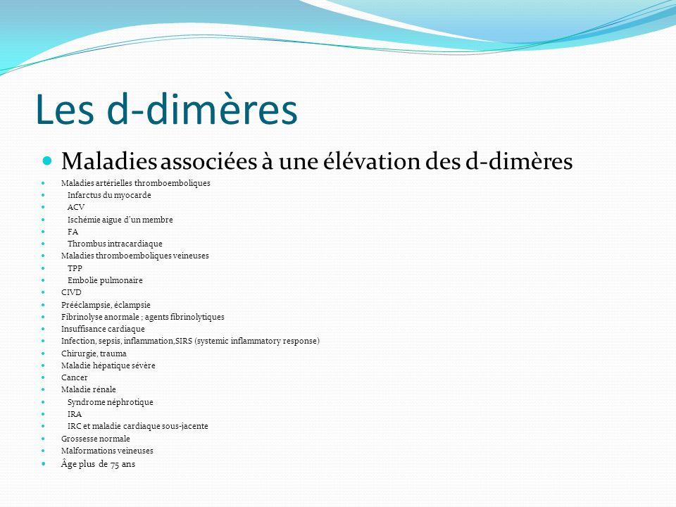 Les d-dimères Maladies associées à une élévation des d-dimères Maladies artérielles thromboemboliques Infarctus du myocarde ACV Ischémie aigue dun mem