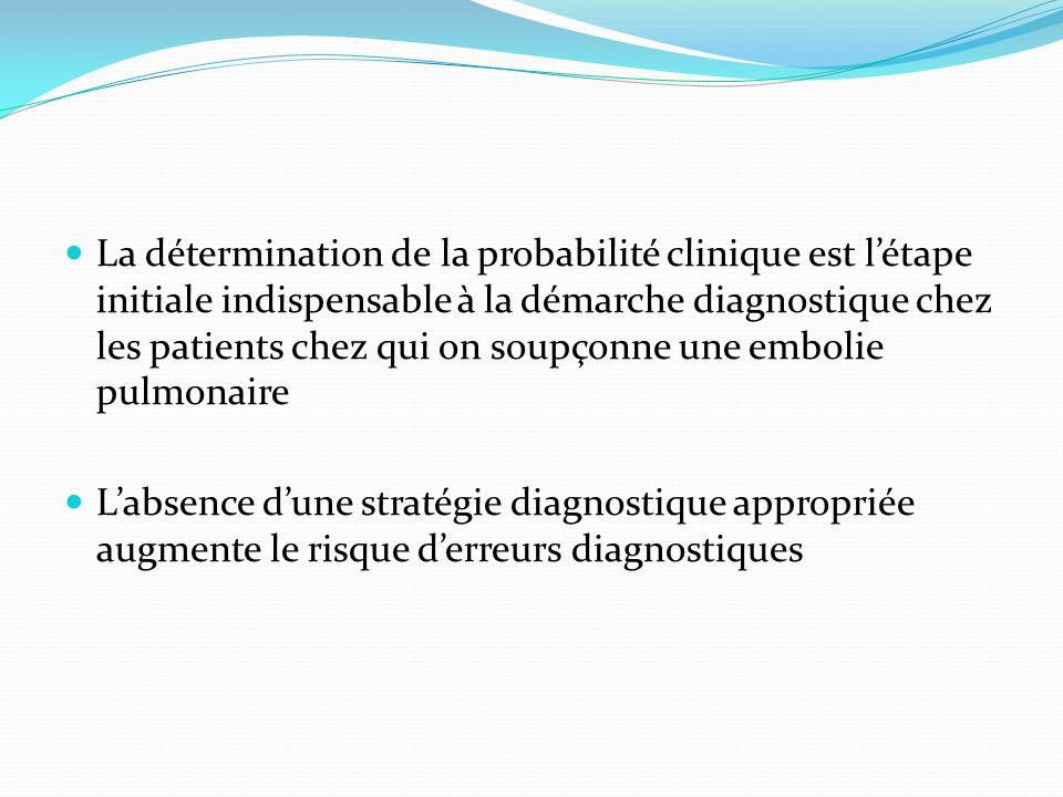 La détermination de la probabilité clinique est létape initiale indispensable à la démarche diagnostique chez les patients chez qui on soupçonne une e