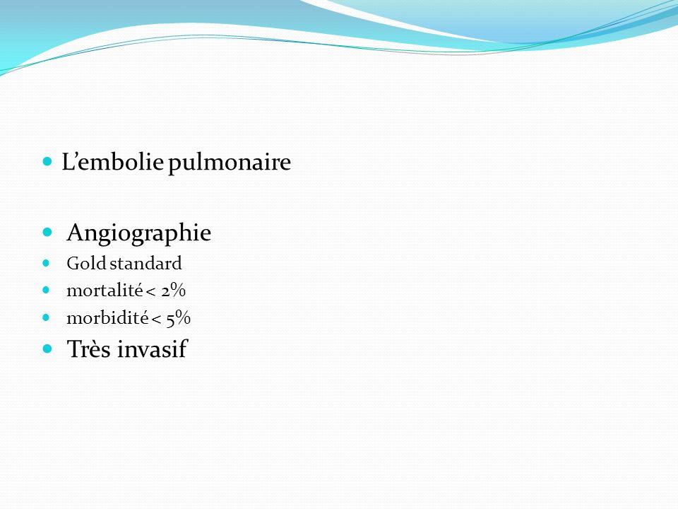 Lembolie pulmonaire Angiographie Gold standard mortalité < 2% morbidité < 5% Très invasif