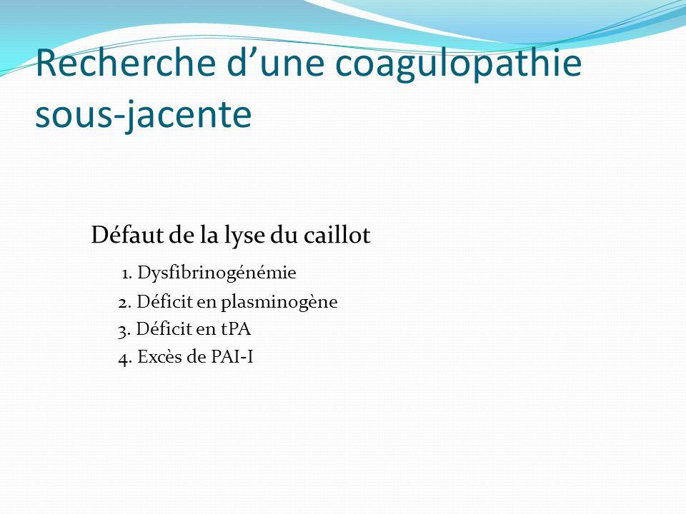 Recherche dune coagulopathie sous-jacente Défaut de la lyse du caillot 1. Dysfibrinogénémie 2. Déficit en plasminogène 3. Déficit en tPA 4. Excès de P
