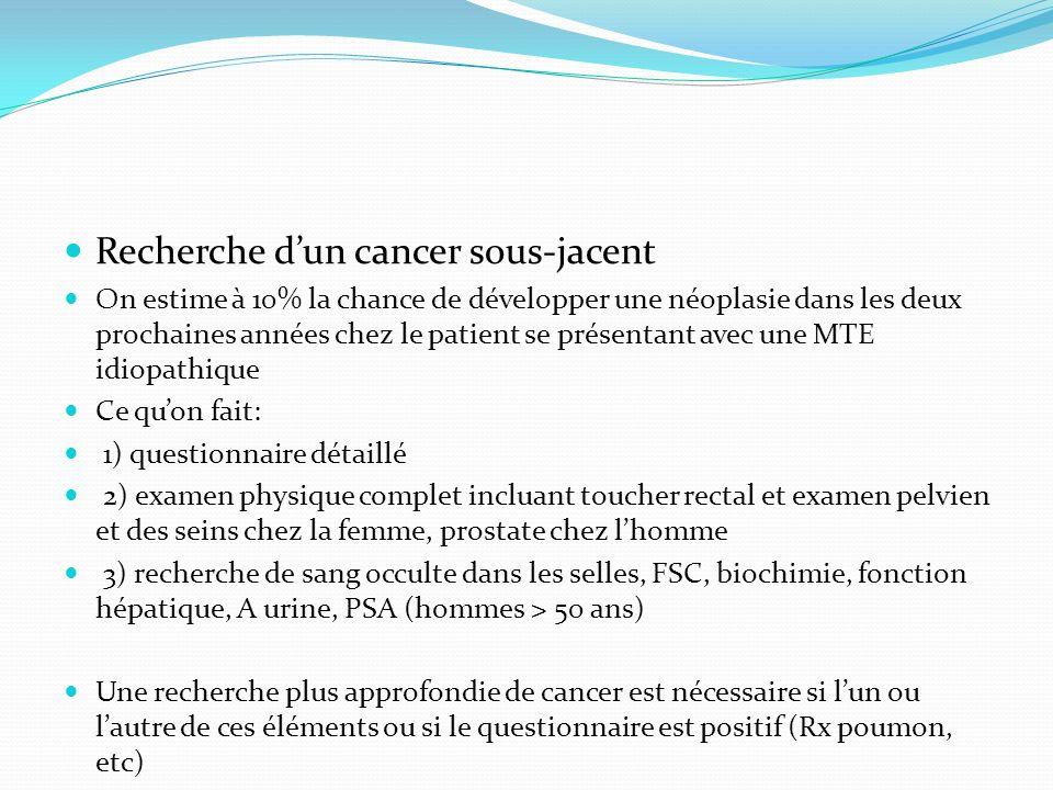 Recherche dun cancer sous-jacent On estime à 10% la chance de développer une néoplasie dans les deux prochaines années chez le patient se présentant a