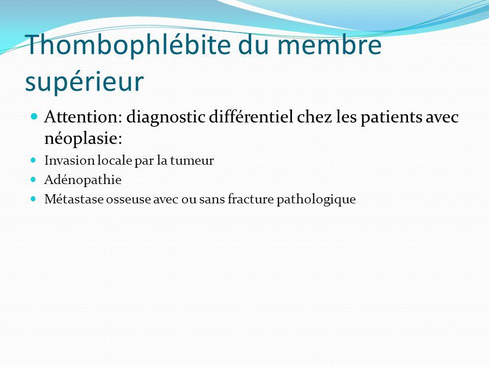 Thombophlébite du membre supérieur Attention: diagnostic différentiel chez les patients avec néoplasie: Invasion locale par la tumeur Adénopathie Méta