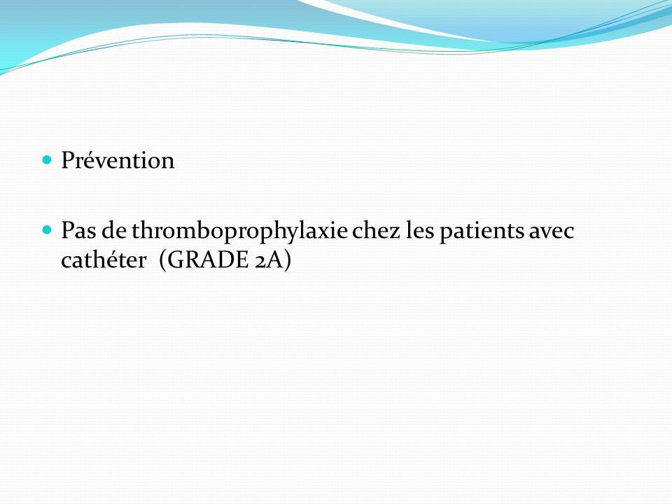 Prévention Pas de thromboprophylaxie chez les patients avec cathéter (GRADE 2A)