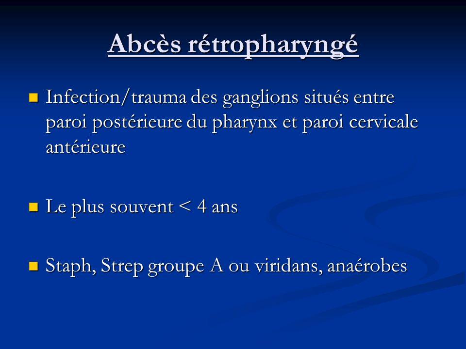 Infection/trauma des ganglions situés entre paroi postérieure du pharynx et paroi cervicale antérieure Infection/trauma des ganglions situés entre par