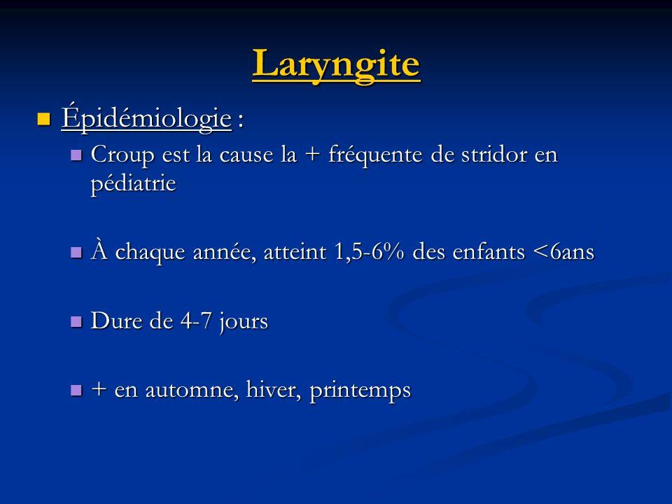 Laryngite Épidémiologie : Épidémiologie : Croup est la cause la + fréquente de stridor en pédiatrie Croup est la cause la + fréquente de stridor en pé