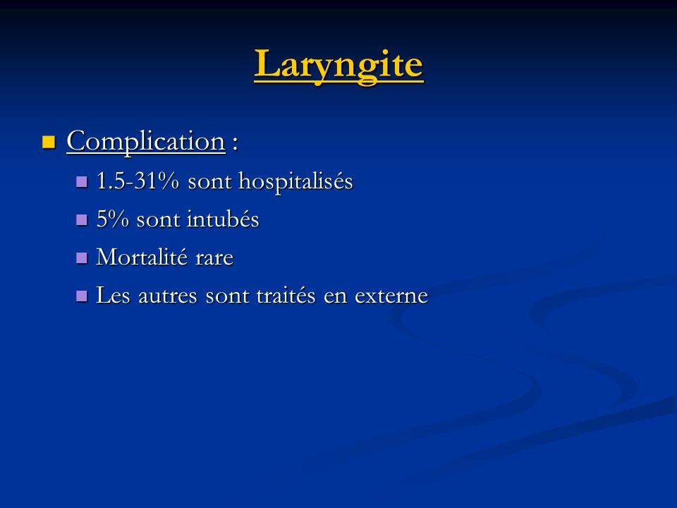 Laryngite Complication : Complication : 1.5-31% sont hospitalisés 1.5-31% sont hospitalisés 5% sont intubés 5% sont intubés Mortalité rare Mortalité r