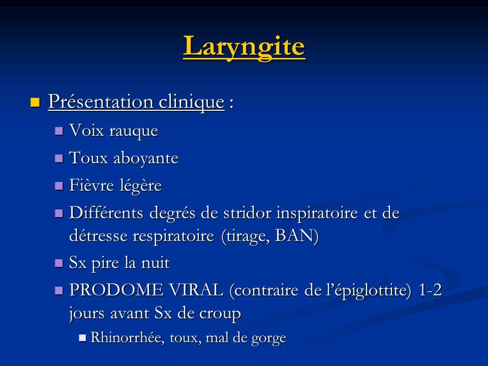 Laryngite Présentation clinique : Présentation clinique : Voix rauque Voix rauque Toux aboyante Toux aboyante Fièvre légère Fièvre légère Différents d