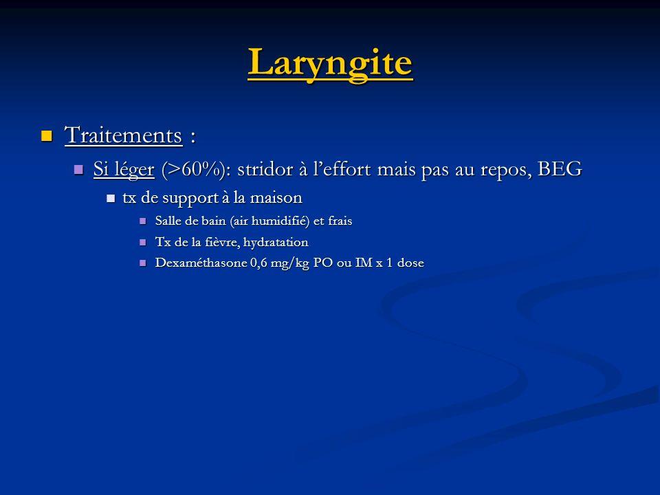 Laryngite Traitements : Traitements : Si léger (>60%): stridor à leffort mais pas au repos, BEG Si léger (>60%): stridor à leffort mais pas au repos,