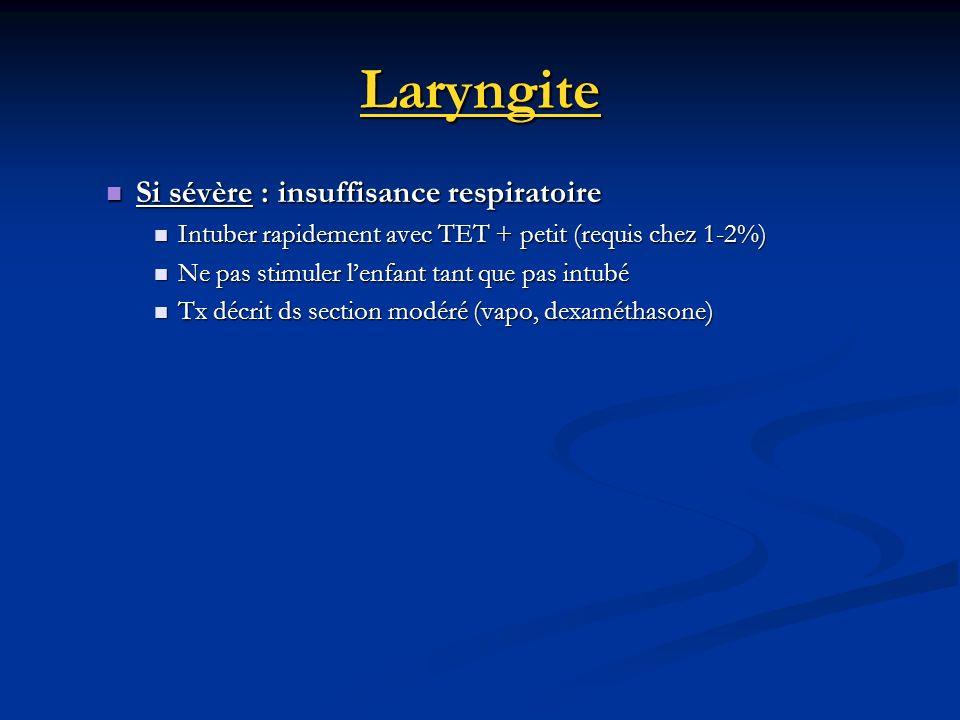 Laryngite Si sévère : insuffisance respiratoire Si sévère : insuffisance respiratoire Intuber rapidement avec TET + petit (requis chez 1-2%) Intuber r
