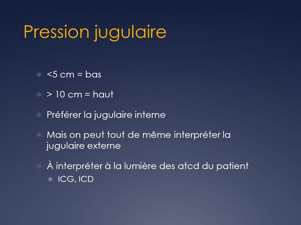 Pression jugulaire <5 cm = bas > 10 cm = haut Préférer la jugulaire interne Mais on peut tout de même interpréter la jugulaire externe À interpréter à la lumière des atcd du patient ICG, ICD
