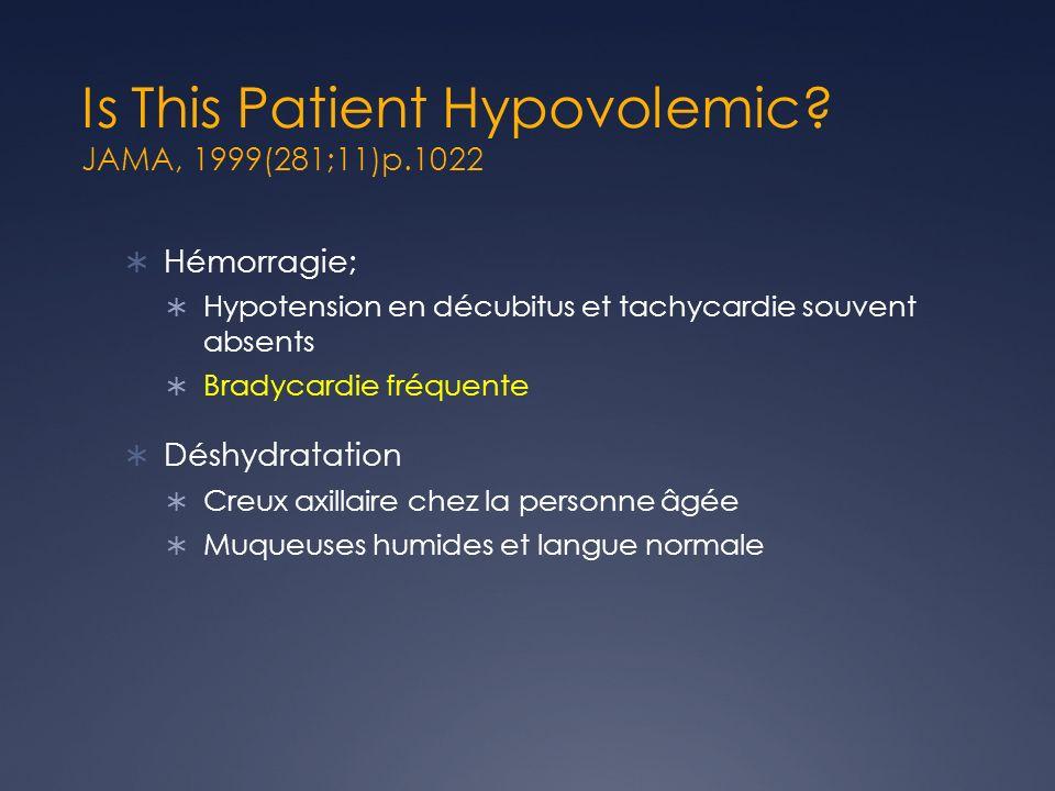 Is This Patient Hypovolemic? JAMA, 1999(281;11)p.1022 Hémorragie; Hypotension en décubitus et tachycardie souvent absents Bradycardie fréquente Déshyd