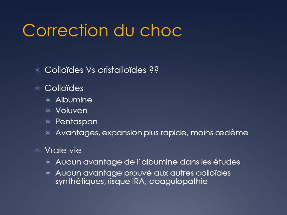 Correction du choc Colloïdes Vs cristalloïdes ?.