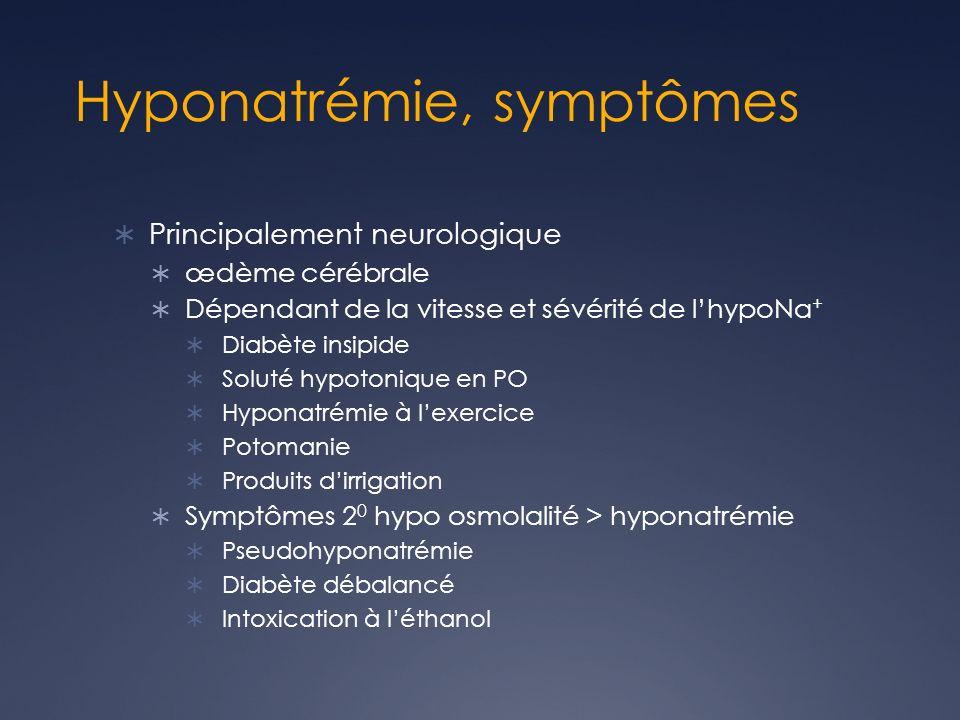 Hyponatrémie, symptômes Principalement neurologique œdème cérébrale Dépendant de la vitesse et sévérité de lhypoNa + Diabète insipide Soluté hypotonique en PO Hyponatrémie à lexercice Potomanie Produits dirrigation Symptômes 2 0 hypo osmolalité > hyponatrémie Pseudohyponatrémie Diabète débalancé Intoxication à léthanol