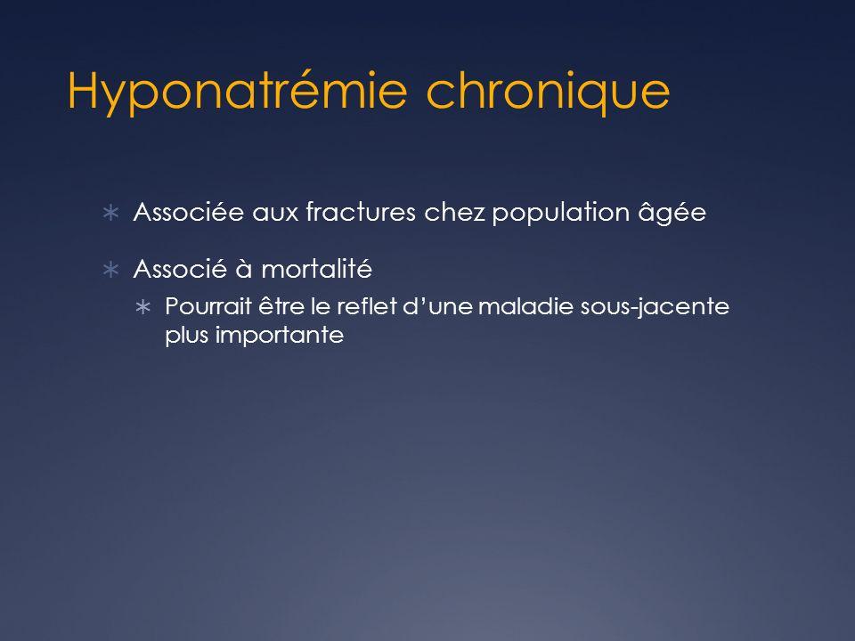 Hyponatrémie chronique Associée aux fractures chez population âgée Associé à mortalité Pourrait être le reflet dune maladie sous-jacente plus importan