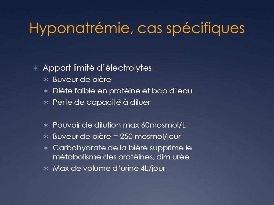 Hyponatrémie, cas spécifiques Apport limité délectrolytes Buveur de bière Diète faible en protéine et bcp deau Perte de capacité à diluer Pouvoir de d