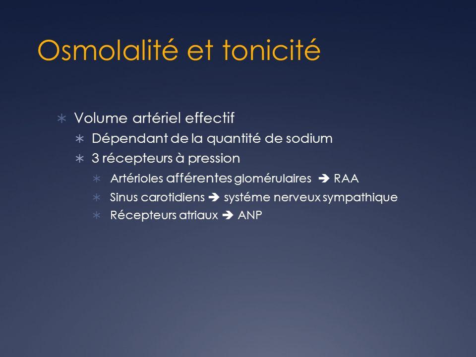 Osmolalité et tonicité Volume artériel effectif Dépendant de la quantité de sodium 3 récepteurs à pression Artérioles afférentes glomérulaires RAA Sinus carotidiens systéme nerveux sympathique Récepteurs atriaux ANP
