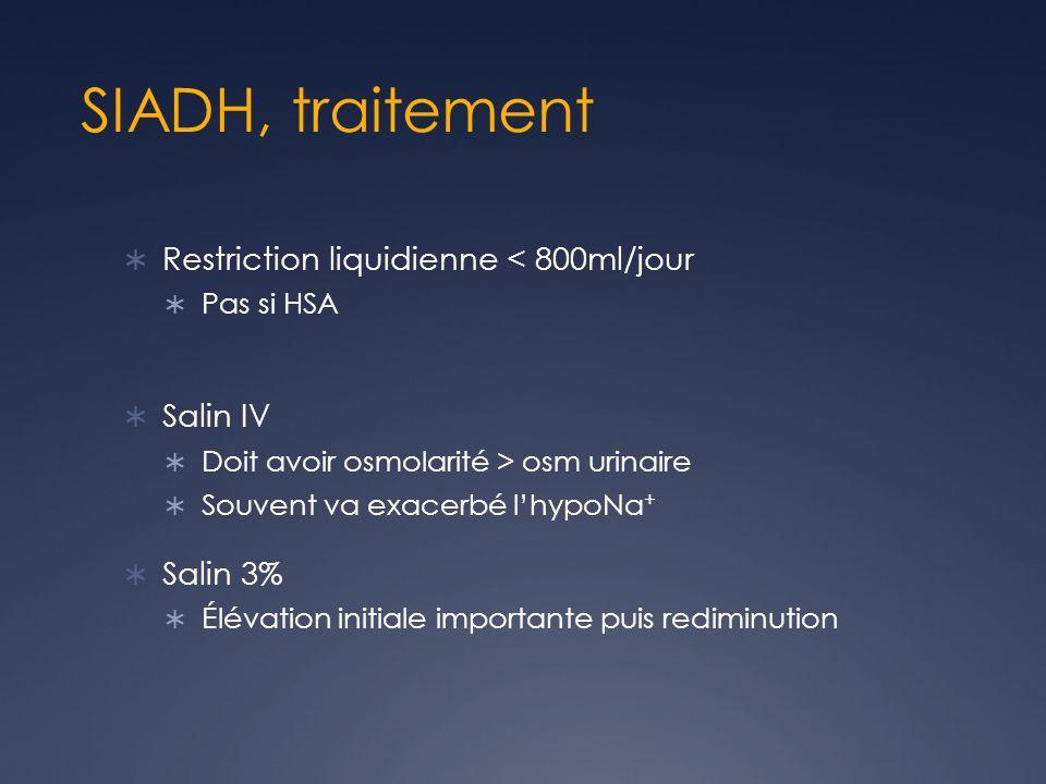 SIADH, traitement Restriction liquidienne < 800ml/jour Pas si HSA Salin IV Doit avoir osmolarité > osm urinaire Souvent va exacerbé lhypoNa + Salin 3%