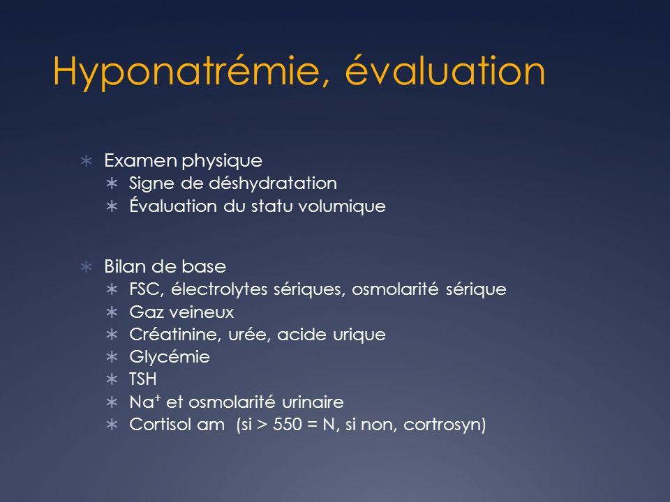 Hyponatrémie, évaluation Examen physique Signe de déshydratation Évaluation du statu volumique Bilan de base FSC, électrolytes sériques, osmolarité sérique Gaz veineux Créatinine, urée, acide urique Glycémie TSH Na + et osmolarité urinaire Cortisol am (si > 550 = N, si non, cortrosyn)