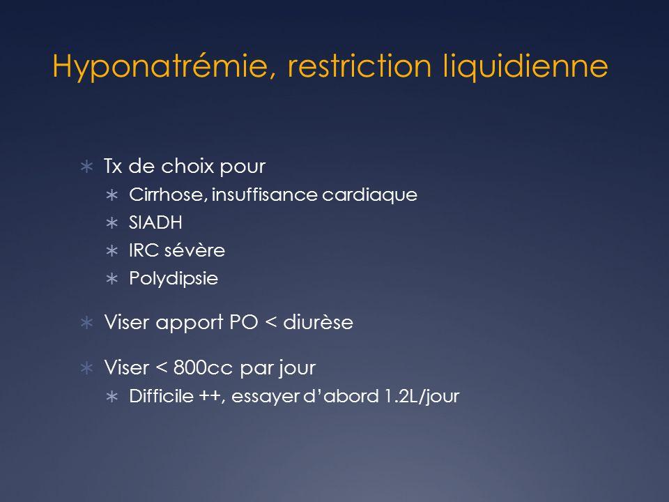 Hyponatrémie, restriction liquidienne Tx de choix pour Cirrhose, insuffisance cardiaque SIADH IRC sévère Polydipsie Viser apport PO < diurèse Viser < 800cc par jour Difficile ++, essayer dabord 1.2L/jour