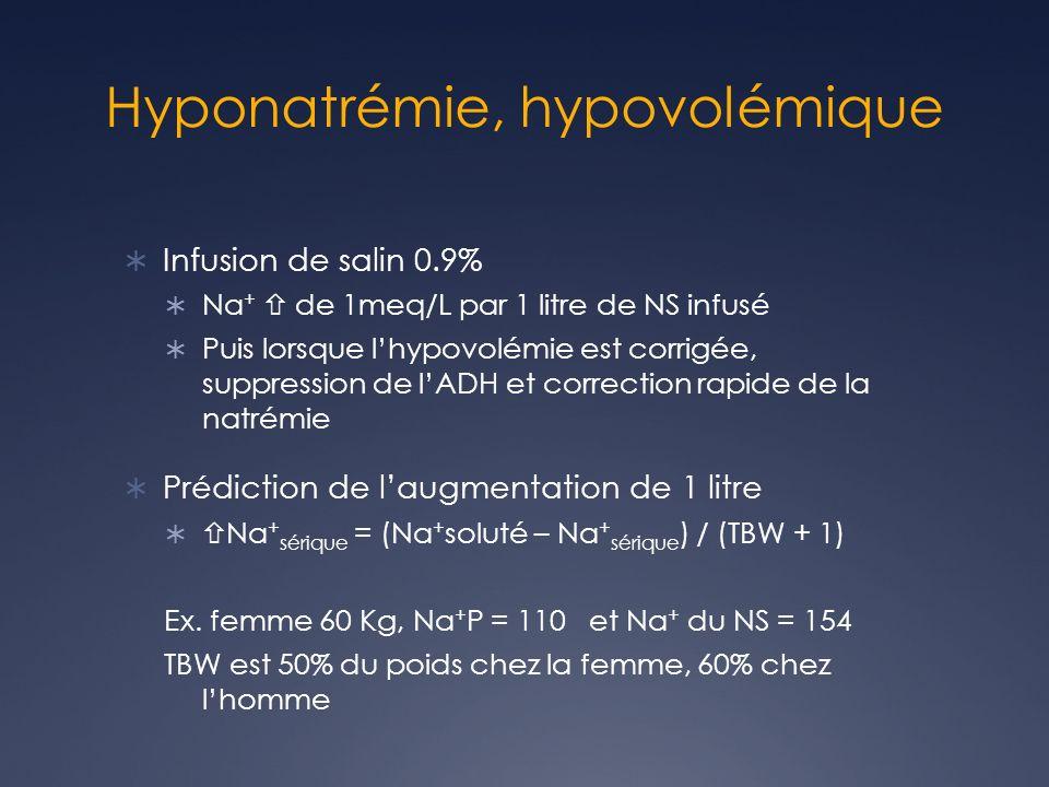 Hyponatrémie, hypovolémique Infusion de salin 0.9% Na + de 1meq/L par 1 litre de NS infusé Puis lorsque lhypovolémie est corrigée, suppression de lADH et correction rapide de la natrémie Prédiction de laugmentation de 1 litre Na + sérique = (Na + soluté – Na + sérique ) / (TBW + 1) Ex.