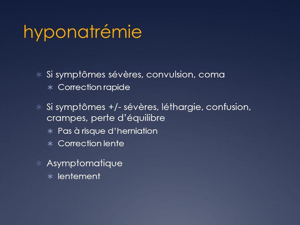 hyponatrémie Si symptômes sévères, convulsion, coma Correction rapide Si symptômes +/- sévères, léthargie, confusion, crampes, perte déquilibre Pas à risque dherniation Correction lente Asymptomatique lentement