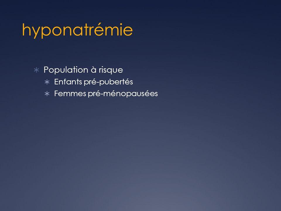 hyponatrémie Population à risque Enfants pré-pubertés Femmes pré-ménopausées