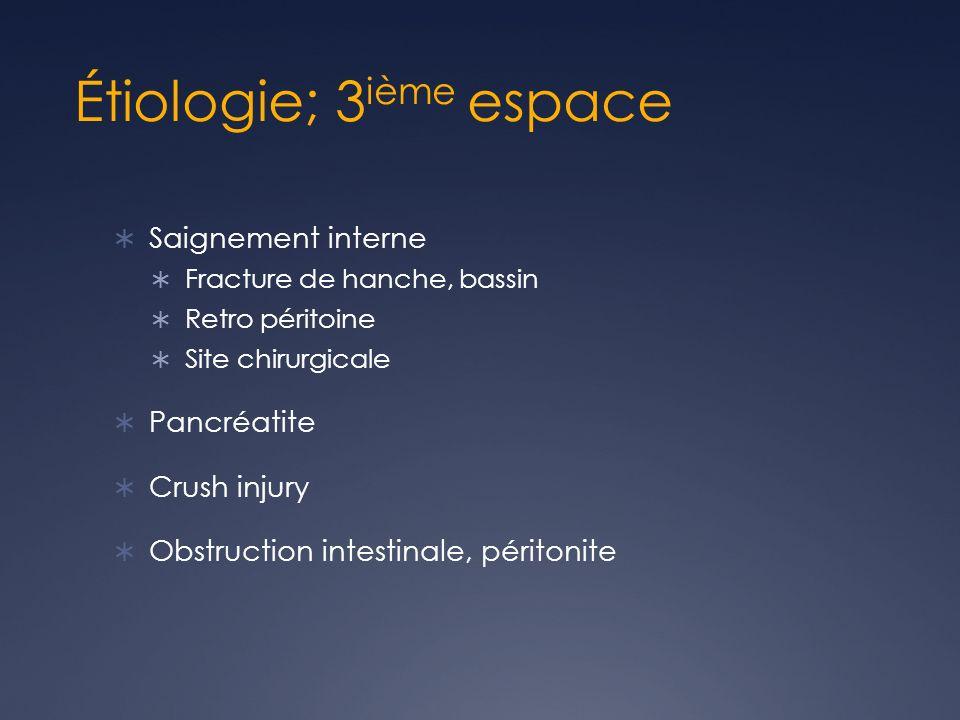 Étiologie; 3 ième espace Saignement interne Fracture de hanche, bassin Retro péritoine Site chirurgicale Pancréatite Crush injury Obstruction intestinale, péritonite