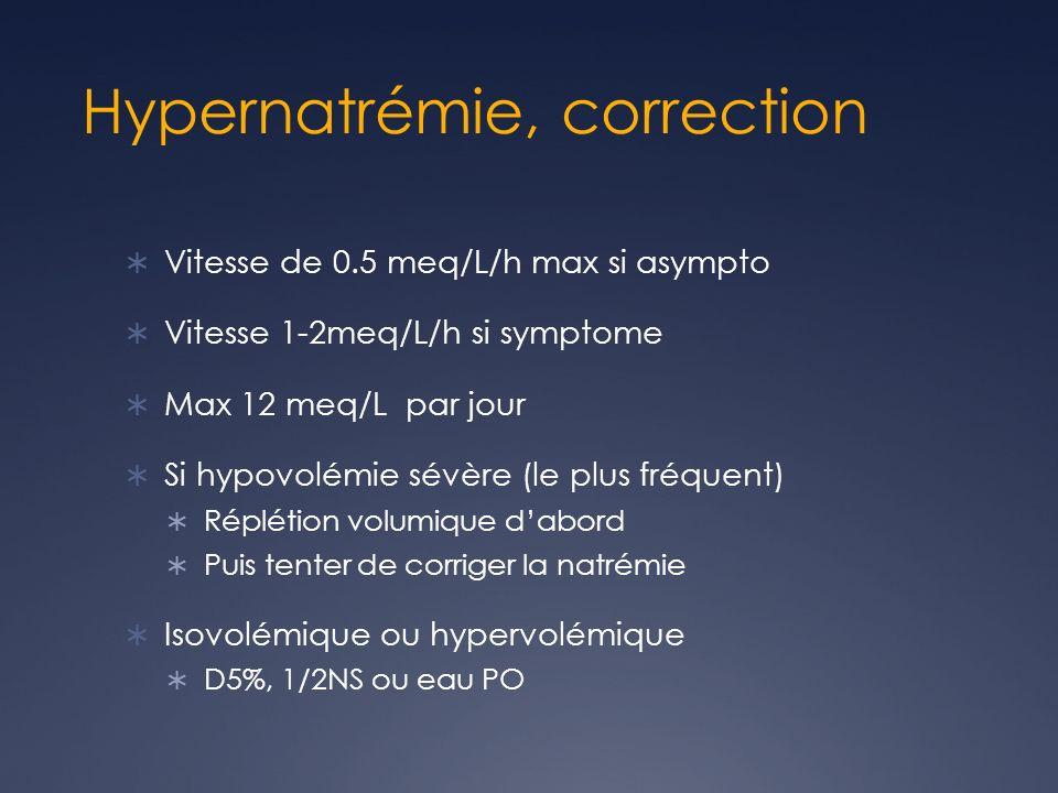 Hypernatrémie, correction Vitesse de 0.5 meq/L/h max si asympto Vitesse 1-2meq/L/h si symptome Max 12 meq/L par jour Si hypovolémie sévère (le plus fréquent) Réplétion volumique dabord Puis tenter de corriger la natrémie Isovolémique ou hypervolémique D5%, 1/2NS ou eau PO