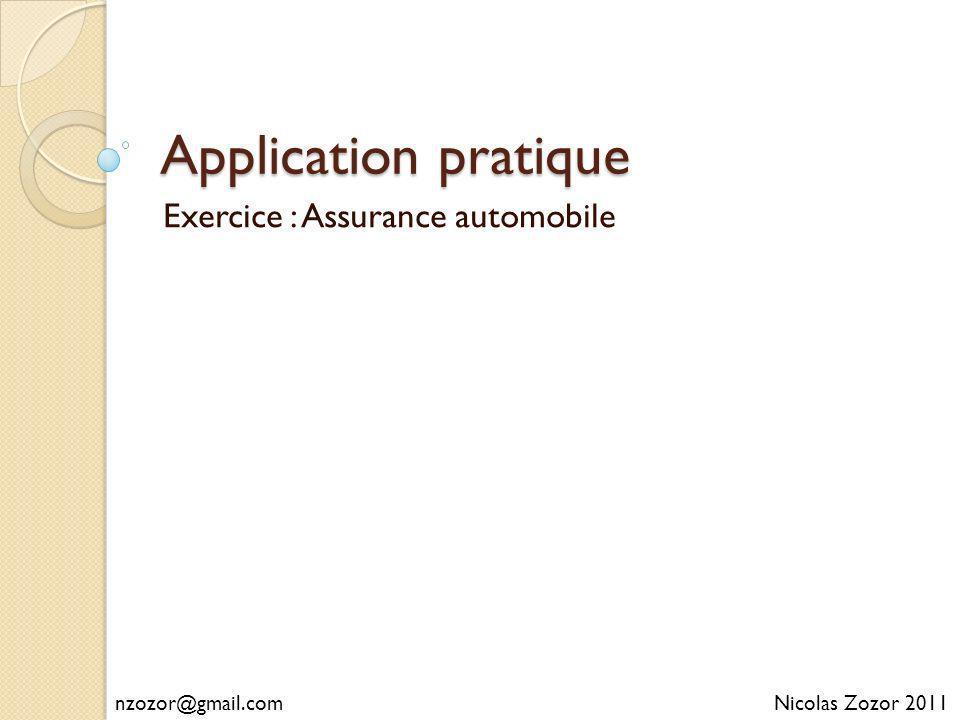 Application pratique Exercice : Assurance automobile Nicolas Zozor 2011nzozor@gmail.com