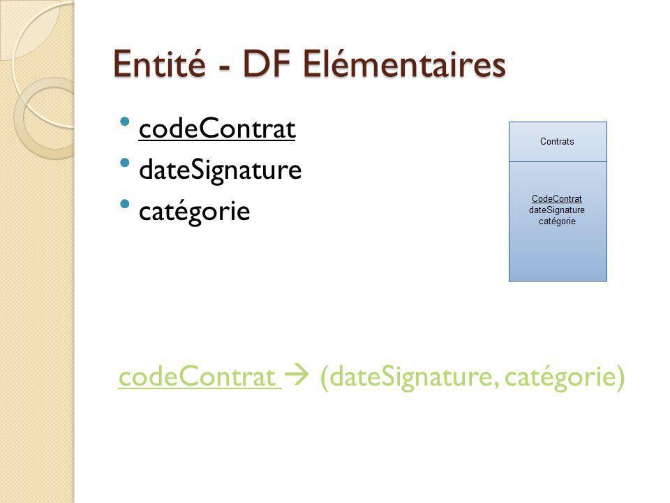 Entité - DF Elémentaires codeContrat dateSignature catégorie codeContrat (dateSignature, catégorie)