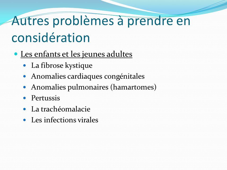 Autres problèmes à prendre en considération Les enfants et les jeunes adultes La fibrose kystique Anomalies cardiaques congénitales Anomalies pulmonai