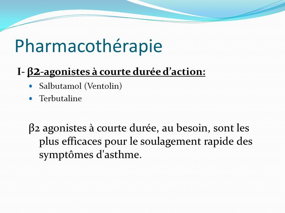 Pharmacothérapie І- β 2 -agonistes à courte durée daction: Salbutamol (Ventolin) Terbutaline β2 agonistes à courte durée, au besoin, sont les plus eff
