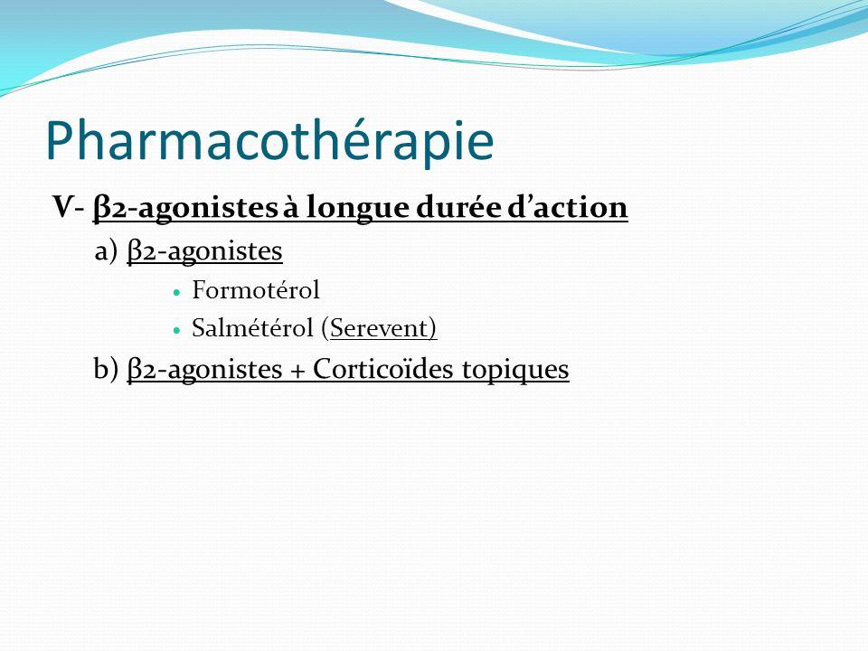 Pharmacothérapie Ѵ- β2-agonistes à longue durée daction a) β2-agonistes Formotérol Salmétérol (Serevent) b) β2-agonistes + Corticoïdes topiques